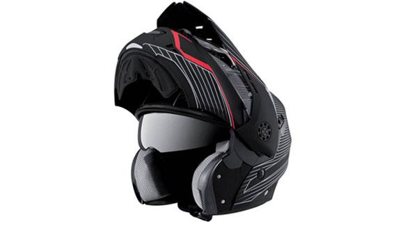 Caberg Tourmax Sonic Hivizion Matt in schwarz/rot und offenem Helm
