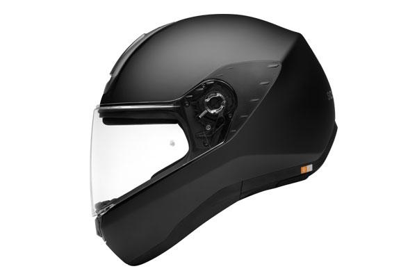Seitenansicht des Motorradhelms Schuberth R2 in schwarz