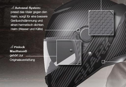 Pinlock und Autoseal-System beim Shark Spartan sorgen für ein festsitzendes Visier
